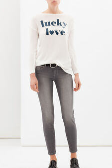 Printed sweatshirt, White, hi-res
