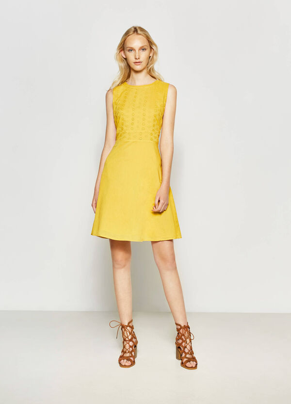100% cotton dress with openwork   OVS