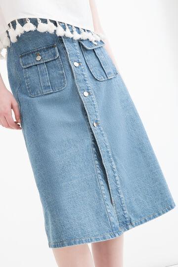 Gonna di jeans con tasche, Blu denim, hi-res
