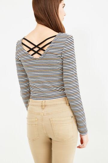 T-shirt in striped stretch viscose blend, White/Grey, hi-res