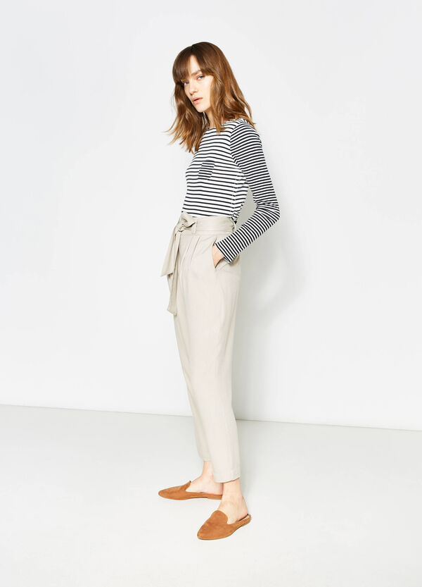 Trousers in 100% viscose with belt | OVS