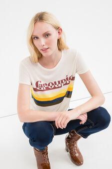 Printed crop T-shirt in viscose blend, Natural, hi-res