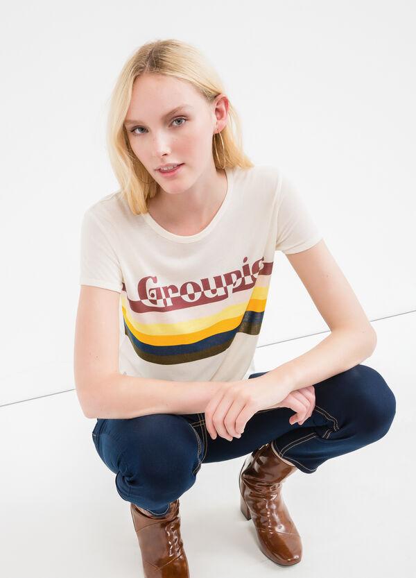 Camiseta corta en mezcla de viscosa con estampado | OVS
