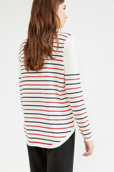 Striped stretch cotton pullover, White/Red, hi-res