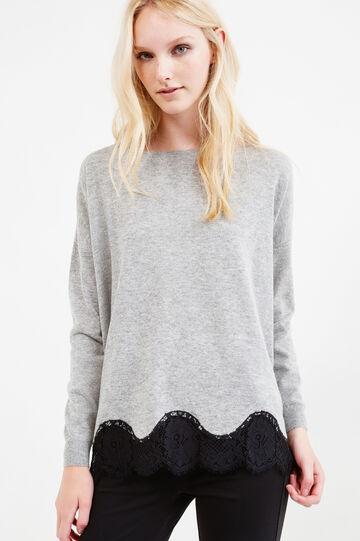 Wool blend pullover with lace, Grey Marl, hi-res
