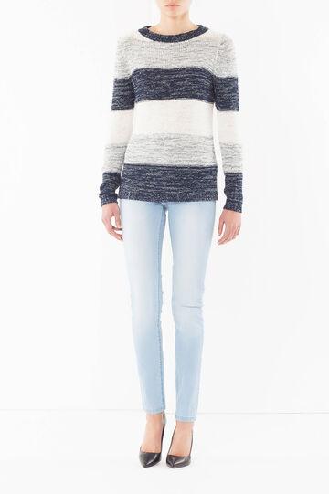 Two-tone V-neck sweater, White/Blue, hi-res