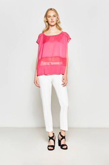 T-shirt with semi-sheer inserts