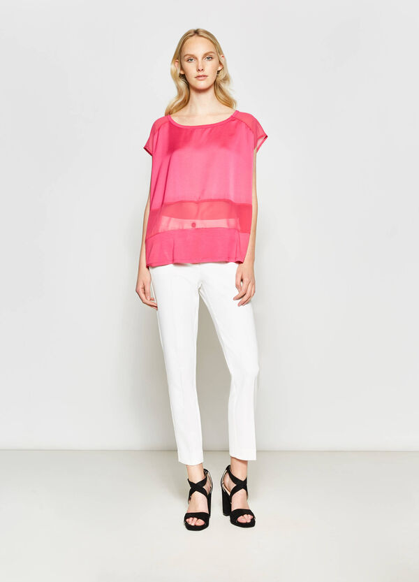 T-shirt with semi-sheer inserts | OVS