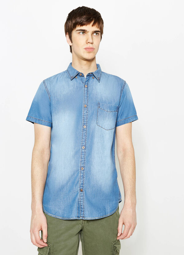 Casual denim shirt with pocket | OVS