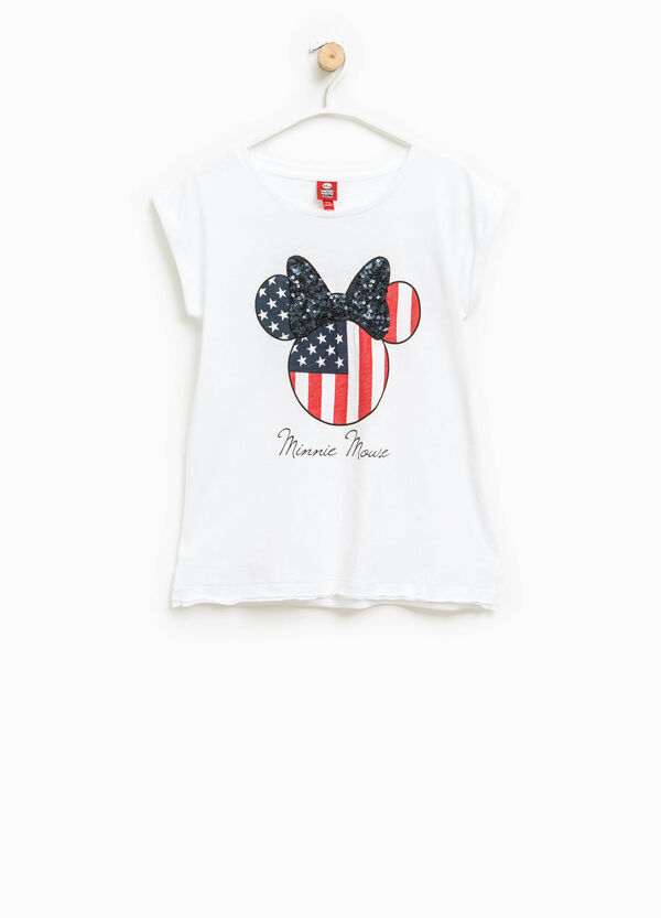 T-shirt stampa Minnie con paillettes | OVS