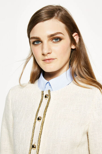 Knitted blazer with round neck, Chalk White, hi-res