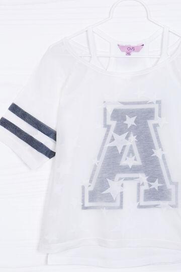 T-shirt misto cotone finto doppio, Bianco, hi-res