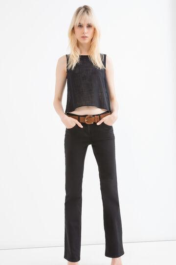 Solid colour blouse with lace, Black, hi-res