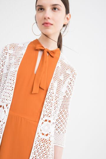 Cotton blend openwork cardigan, White, hi-res