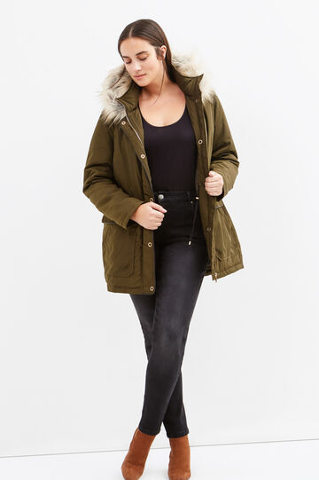 Curvy faux fur jacket, Army Green, hi-res