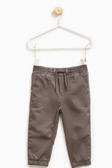 Pantaloni puro cotone con coulisse, Grigio scuro, hi-res