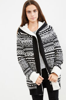 Teen cardigan with geometric pattern, Black/White, hi-res