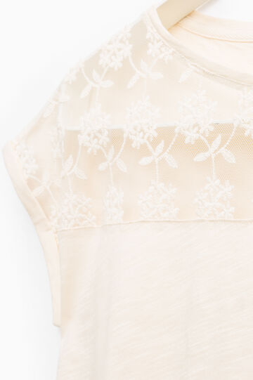 Smart Basic T-shirt with floral embroidery, Cream, hi-res