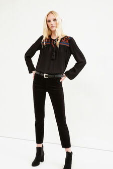 V-neck blouse with ties, Black, hi-res