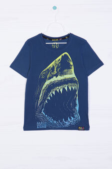 Maui & Sons cotton T-shirt with shark, Slate Grey, hi-res