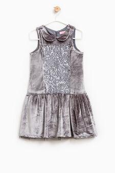 Sleeveless dress with collar, Grey, hi-res