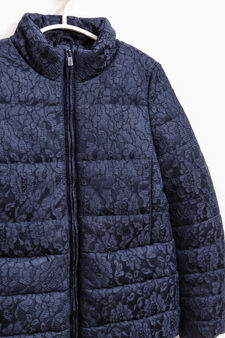 Solid colour down jacket with lace, Purple, hi-res