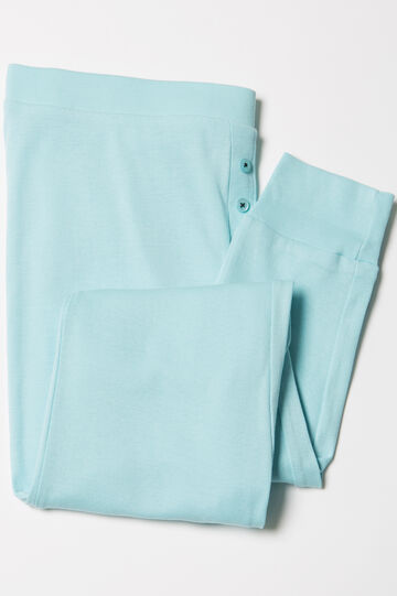 Solid colour cotton pyjama trousers, Aqua Blue, hi-res