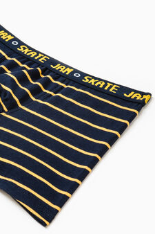 Striped stretch cotton boxers, Blue/Yellow, hi-res