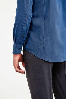 Cotton striped slim fit formal shirt, Blue/Light Blue, hi-res