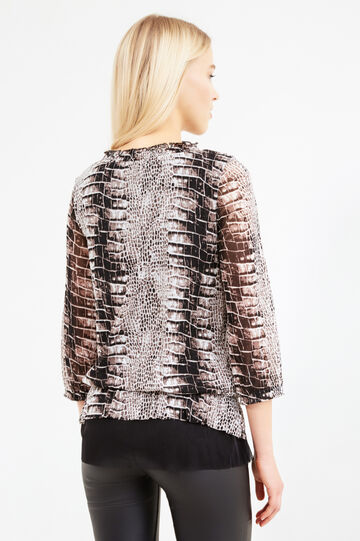 Animal print T-shirt with three-quarter sleeves, Multicolour, hi-res