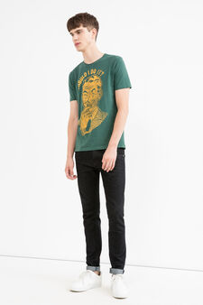 100% cotton T-shirt with print, Green, hi-res