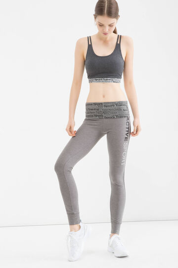 Gym leggings with printing, Grey Marl, hi-res