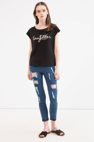 T-shirt with diamantés and print, Black, hi-res