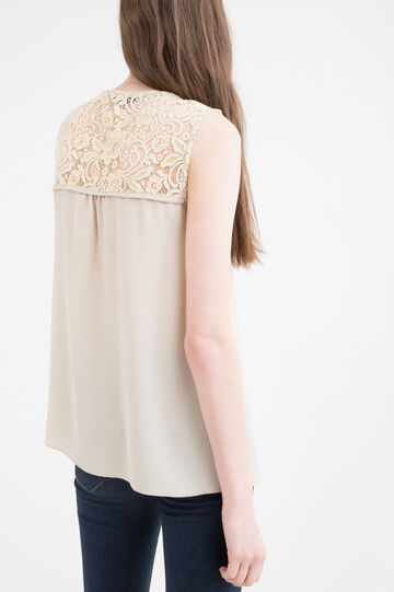 Blusa stretch con pizzo applicato, Marrone ecru, hi-res