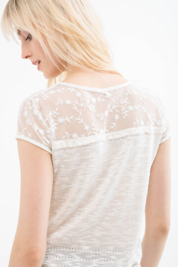 Viscose blend T-shirt with lace, Natural, hi-res