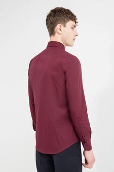 Slim-fit formal shirt with button down collar, Red, hi-res