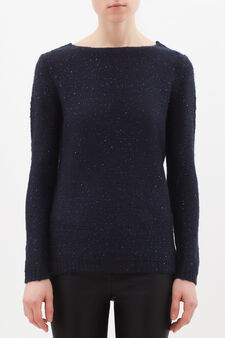 Pullover tricot con paillettes, Blu navy, hi-res