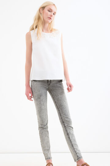 Solid colour linen and cotton blouse, White, hi-res