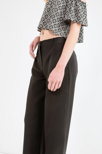 Solid colour viscose trousers, Black, hi-res