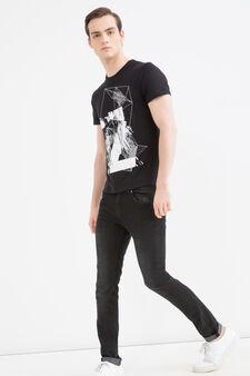 Cotton T-shirt with maxi print, Black, hi-res