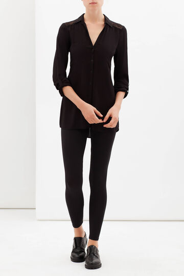 Plain stretch leggings, Black, hi-res