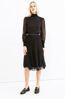 Midi skirt with elasticated waist., Black, hi-res
