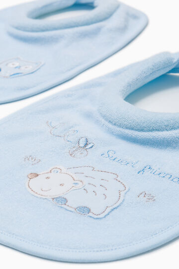 Two-pack embroidered bibs, Light Blue, hi-res