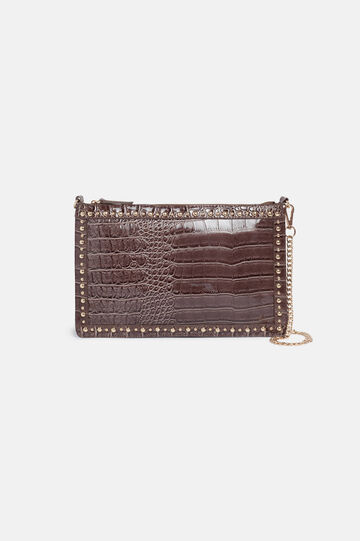 Clutch bag with chain, Light Brown, hi-res