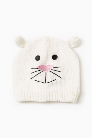 Embroidered beanie cap with ears, White, hi-res