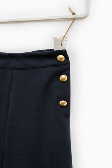 100% cotton trousers with buttons, Navy Blue, hi-res