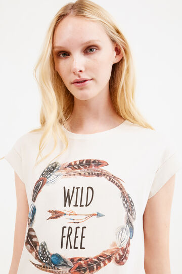 Printed T-shirt with cap sleeves, Sand, hi-res