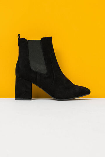 Suede ankle boots with wide heel, Black, hi-res