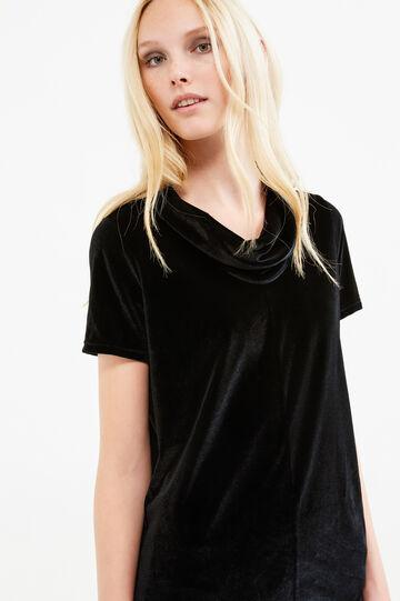 Long T-shirt in stretch velvet, Black, hi-res