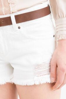 Shorts di jeans con strappi, Bianco, hi-res